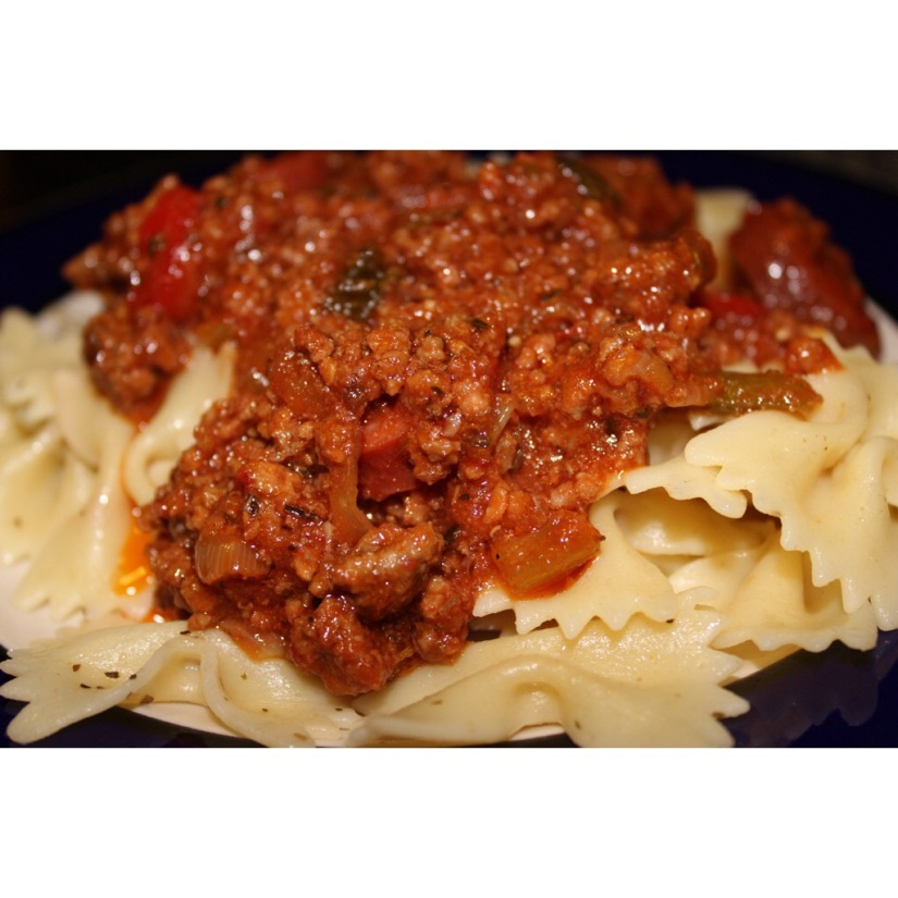 Bow Tie Pasta With Meat Sauce.