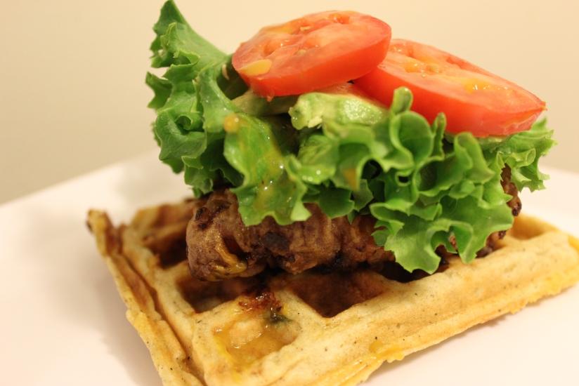 Fried Chicken & Cheddar WaffleSandwich