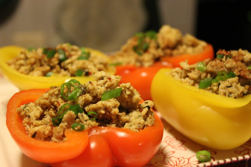 Quinoa and Spicy Chicken Stuffed Peppers.