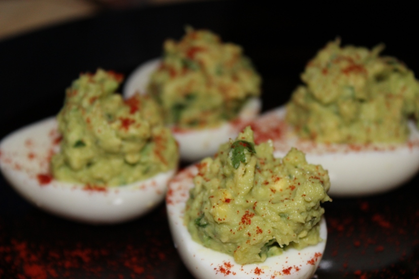 Avocado Stuffed Eggs.